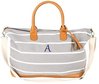 Cathy's Concepts Personalized Gray Striped Canvas Oversized Weekend Tote - MULTIPLE LETTERS AVAILABLE