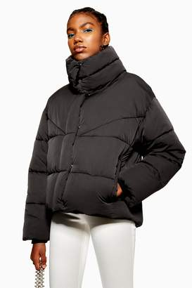 Topshop Black Wrap Padded Puffer Jacket