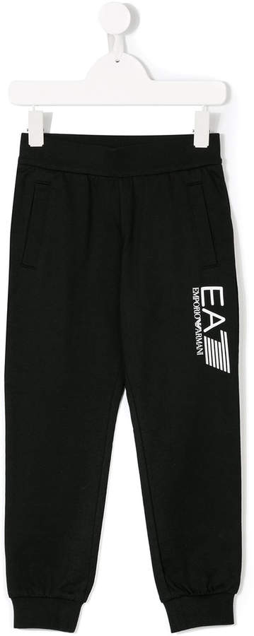 Ea7 Kids logo printed track pants