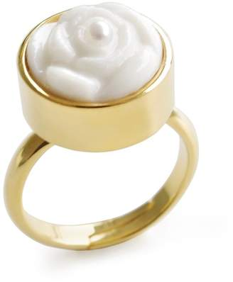 POPORCELAIN - Porcelain Rose With Pearl Adjustable Ring