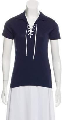 Ralph Lauren Lace-Up Short Sleeve Top
