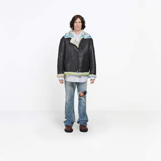 Balenciaga Handpainted leather and shearling jacket
