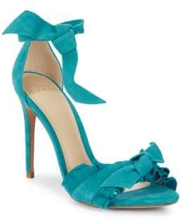 Alexandre Birman Ruffled-Strap Stiletto Heel Leather Sandals