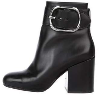 Alexander Wang Leather Round-Toe Ankle Boots Black Leather Round-Toe Ankle Boots