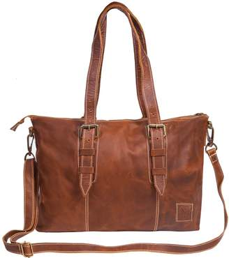 Mahi Leather Victoria Tote Handbag In Vintage Brown With Cream Sching Detail