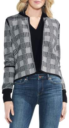 Vince Camuto Plaid Jacquard Sweater Jacket