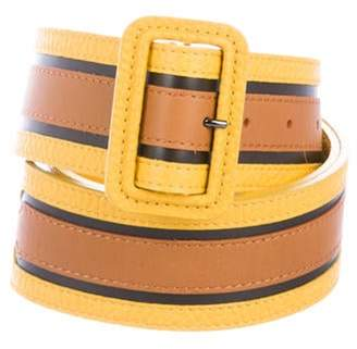 Burberry Leather Wide Belt Yellow Leather Wide Belt