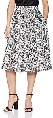 BCBGMAXAZRIA Women's Floral Embroidered A-line Skirt