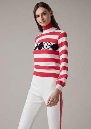 Giorgio Armani Striped Virgin Wool Turtleneck With Logo And Circle Embroidery