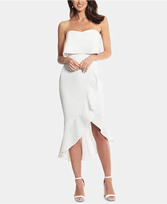 Xscape Evenings Crepe Bustier Ruffle-Hem Dress