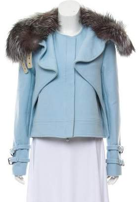 Wes Gordon Fur-Trimmed Wool Jacket