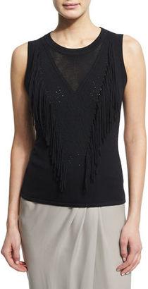 Elie Tahari Candace Sleeveless Fringe-Front Sweater $298 thestylecure.com
