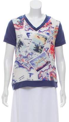 Peter Som Postcard Print Short Sleeve Top