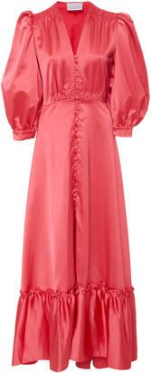 Luisa Beccaria Ruffled Satin Maxi Dress Size: 40
