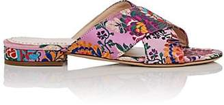 Barneys New York Women's Floral Satin Brocade Slide Sandals - Pink