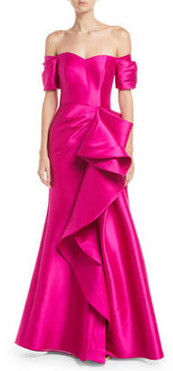 Badgley Mischka Off-the-Shoulder Gown w/ Dramatic Ruffle