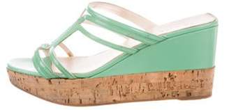 Prada Patent Leather Platform Wedges Green Patent Leather Platform Wedges