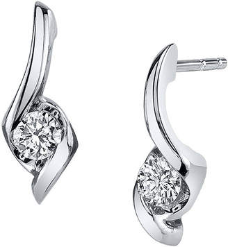 Sirena 1/8 CT. T.W. Round Diamond 14K White Gold Earrings