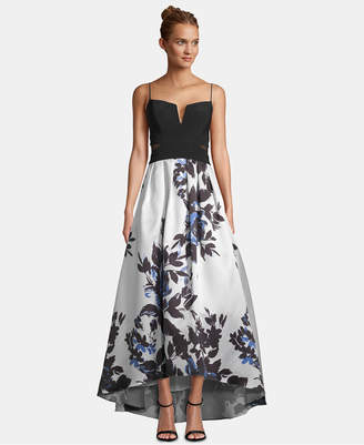 Xscape Evenings Solid & Floral High-Low Gown