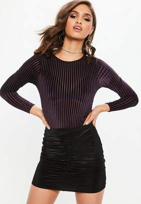 Missguided Purple Velvet Stripe High Leg Bodysuit