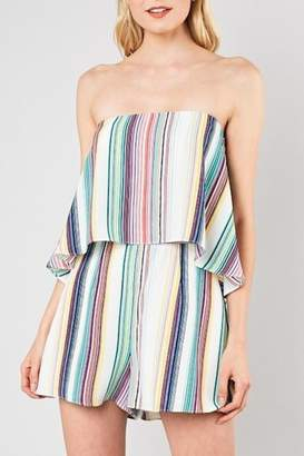 Do & Be Striped Strapless Romper