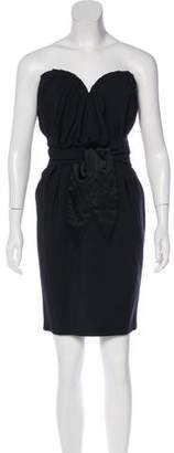 Mara Hoffman Wool Pleated Strapless Mini Dress