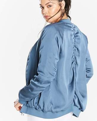 Fashion World Ruched Sleeve Bomber Jacket