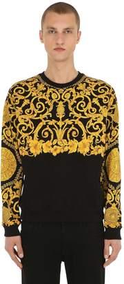 Versace GOLD HIBISCUS PRINTED CREWNECK SWEATER