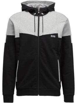 BOSS Hugo Cotton Full-Zip Hoodie Saggy S Black