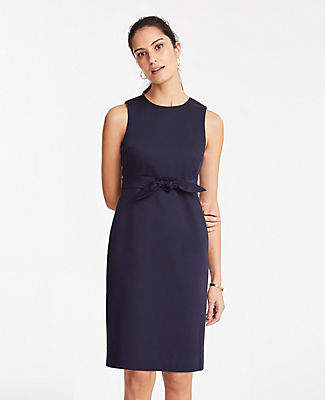 Ann Taylor The Petite Waist-Detail Sheath Dress with Tie in Cotton Sateen