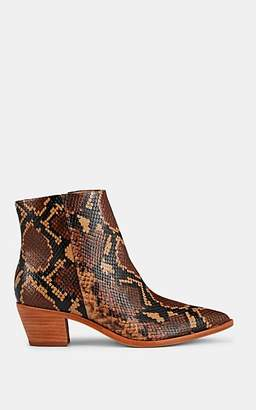 Ulla Johnson Women's Snakeskin-Stamped Leather Ankle Boots - Dk. brown