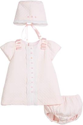 Luli & Me Pique Lace-Trim Dress w/ Bonnet & Bloomers, Size 3-24 Months