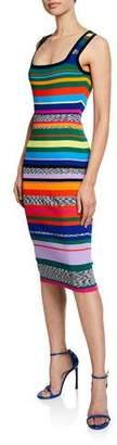 Milly Plus Size Square-Neck Sleeveless Space-Dye %26 Rainbow Stripe Dress