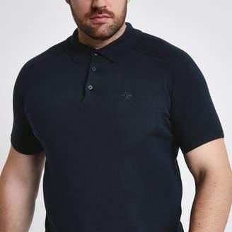 River Island Mens Big and Tall Navy short sleeve polo shirt