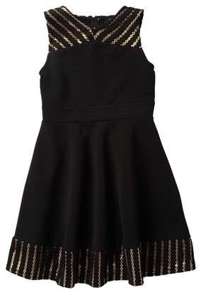 Zunie Sleeveless Fishnet Hem & Yoke Dress (Big Girls)