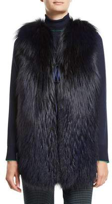 Piazza Sempione Fox-Fur Vest with Plaid Back