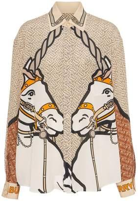 Burberry Unicorn And Monogram Print Silk Oversized Shirt