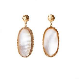Christina Greene - Large Drop Earrings in Pearl