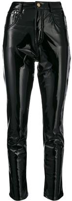 Chiara Ferragni vinyl skinny trousers
