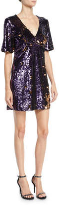 Bardot Sequined V-Neck Short-Sleeve Cocktail Dress