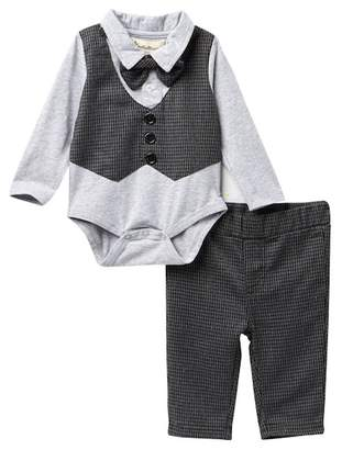 Beetle & Thread Houndstooth Vest & Bow Tie Accented Bodysuit & Pants Set (Baby Boys)