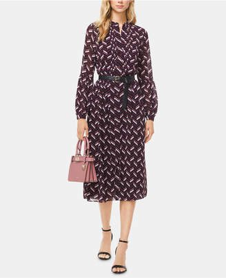 Michael Kors Printed Belted Pleated Dress