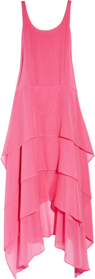 DKNY Tiered stretch silk-crepe dress