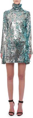 Halpern Turtleneck Long-Sleeve Sequin Cocktail Dress