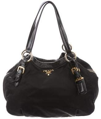 Prada Leather-Trimmed Tessuto Hobo