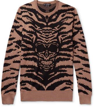 Alexander McQueen Intarsia Wool Sweater - Men - Camel
