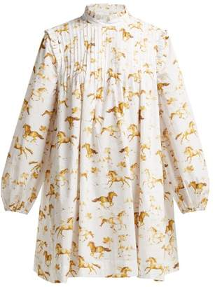 Ganni Weston Horse Print Cotton Dress - Womens - White Multi