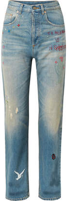 Gucci Embroidered Distressed High-rise Straight-leg Jeans - Mid denim