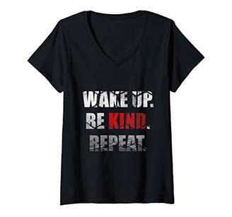 Womens Wake Up Be Kind Repeat Spread Kindness Stop Bully Awareness V-Neck T-Shirt