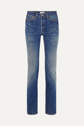 RE/DONE + Levi's Distressed High-rise Straight-leg Jeans - Mid denim
